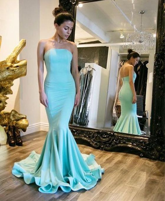 Chic mermaid light blue long prom dress,blue evening dresses ...
