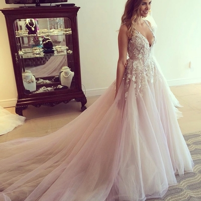 V neck lace wedding dressesa line tulle long prom dress with v neck lace wedding dressesa line tulle long prom dress with train junglespirit Images