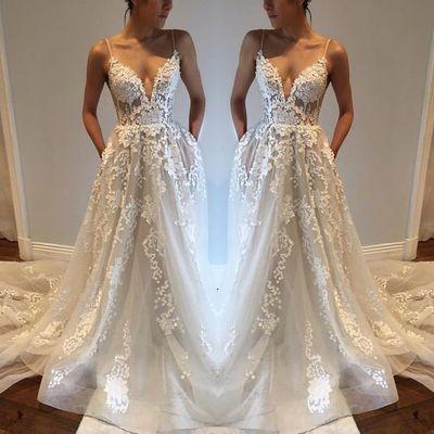 Deep V neck Wedding Dress, Lace Wedding Dress, Custom Made Wedding ...