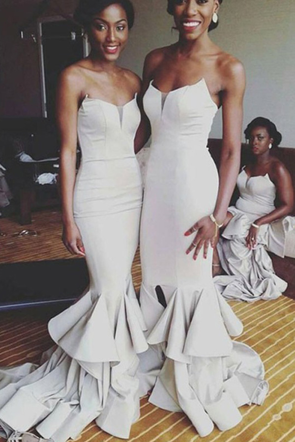Elegant Sweetheart Mermaid Light Grey Bridesmaid Dress with Ruffles ...