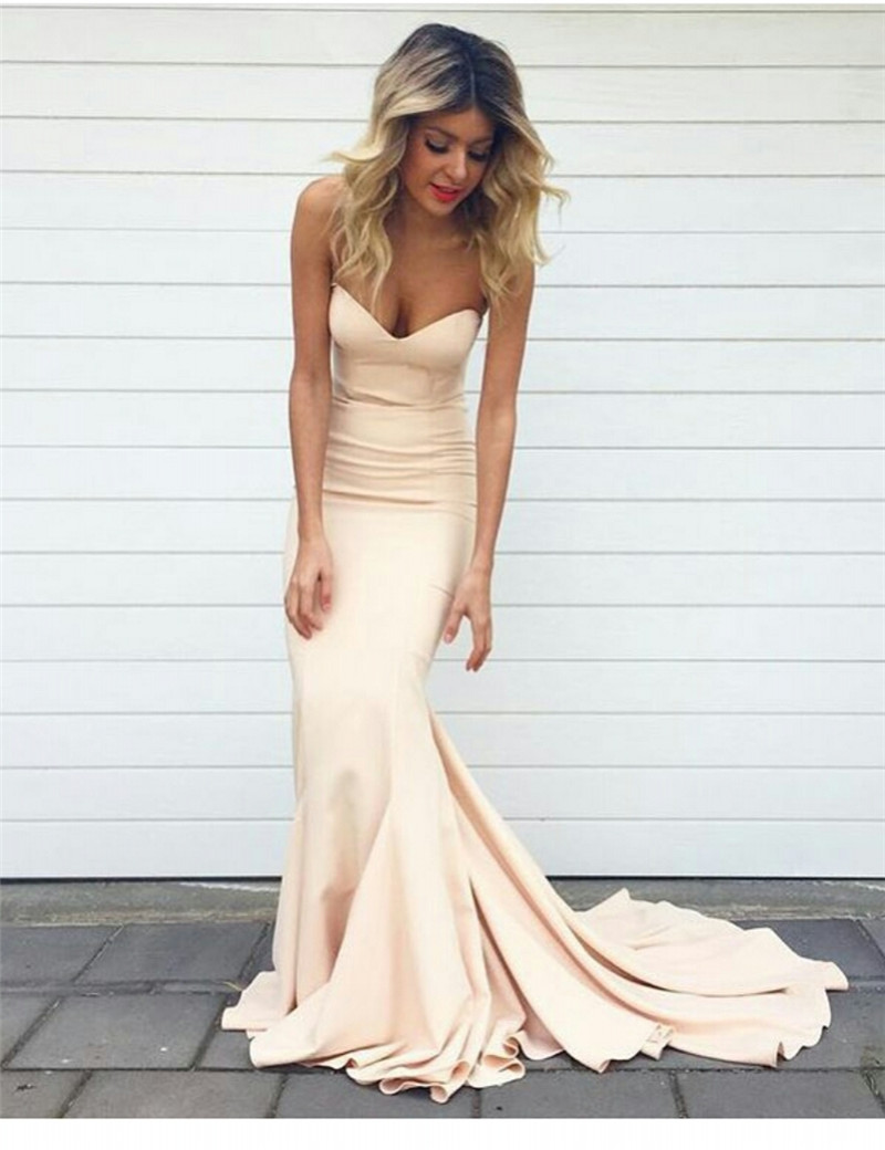 Prom Gowns,Pink Prom Dresses,Simple Evening Gowns,Mermaid Formal ...
