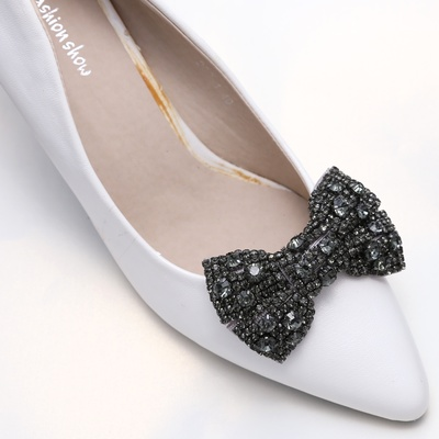 Wedding shoe clips clear rhinestone crystal black ribbon bow shoe wedding shoe clips black rhinestone crystal bow shoe decoration thumbnail 2 junglespirit Image collections