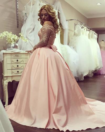 Ulass Long Sleeves Ball Gowns,Lace Sleeves Prom Dresses,Elegant ...