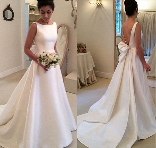 White Long Wedding Dress - Open Back Ribbon Train · modsele · Online ...