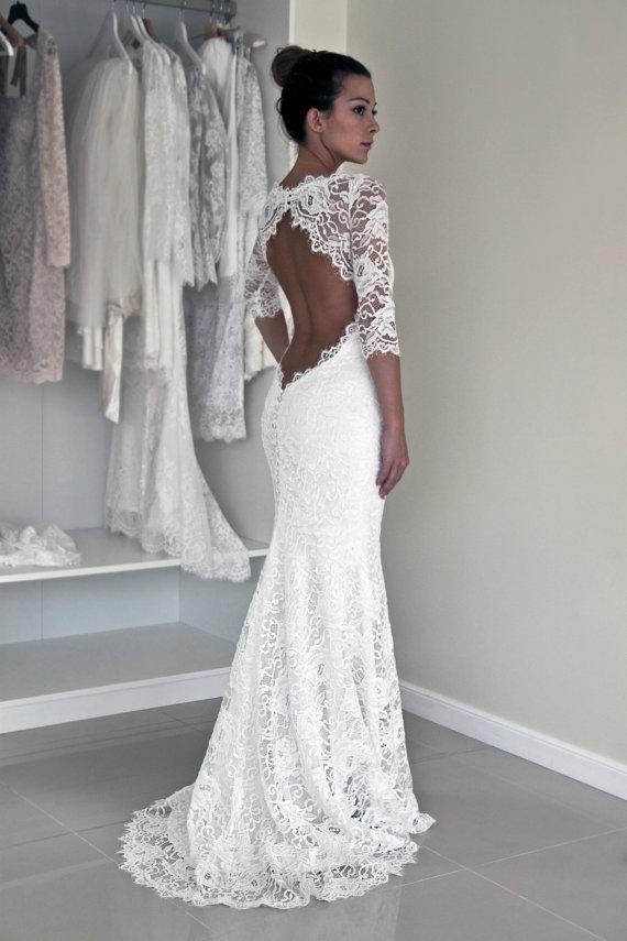 Floor Length Sheath Keyhole Back Half Sleeves Lace Wedding Dress ...