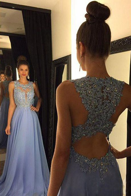 2018 prom dresses,Stunning Crew Neck Long Lavender Prom Party Dress ...