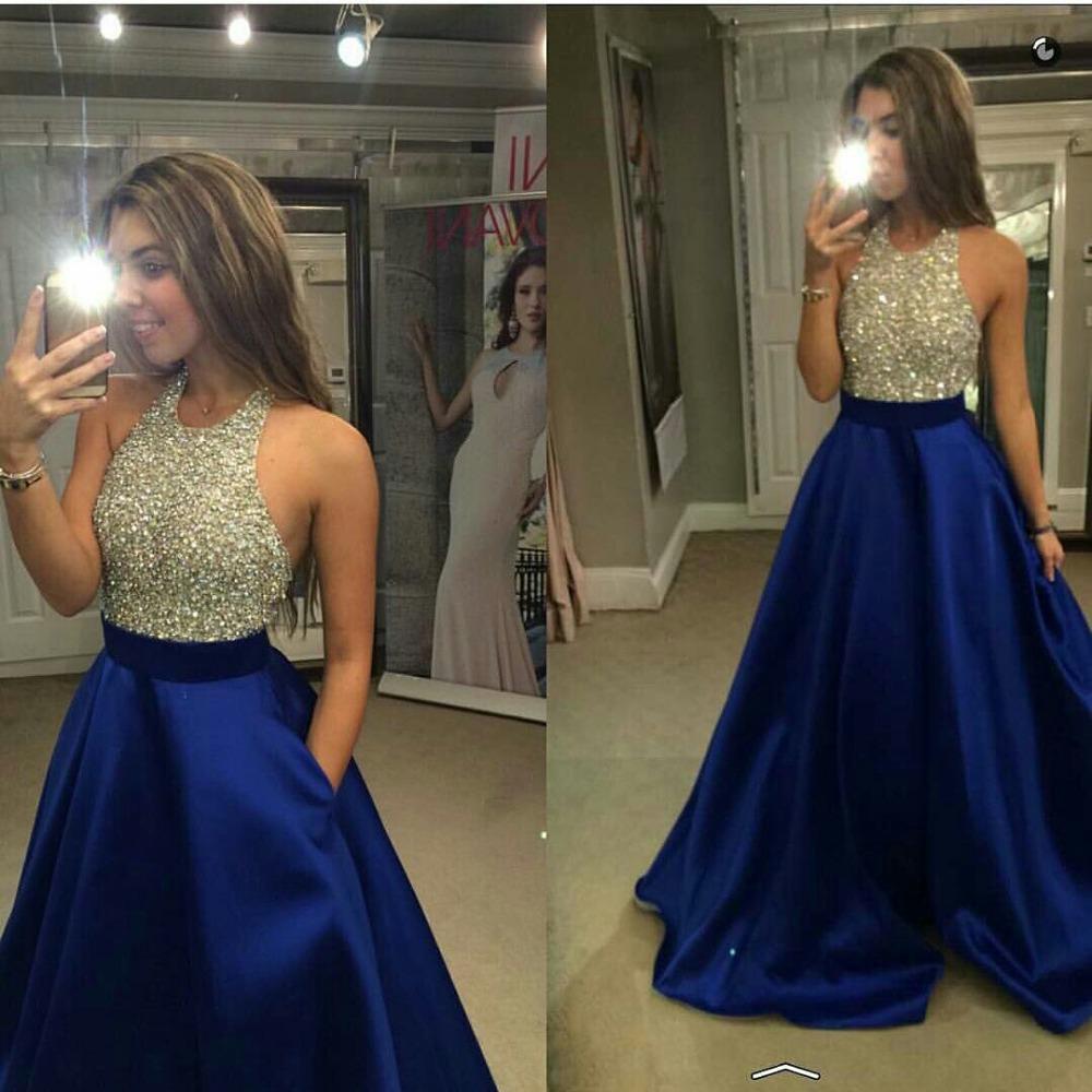 Prom Dresses,Prom Dress,Royal Blue Halter Prom Dress,Long Backless ...