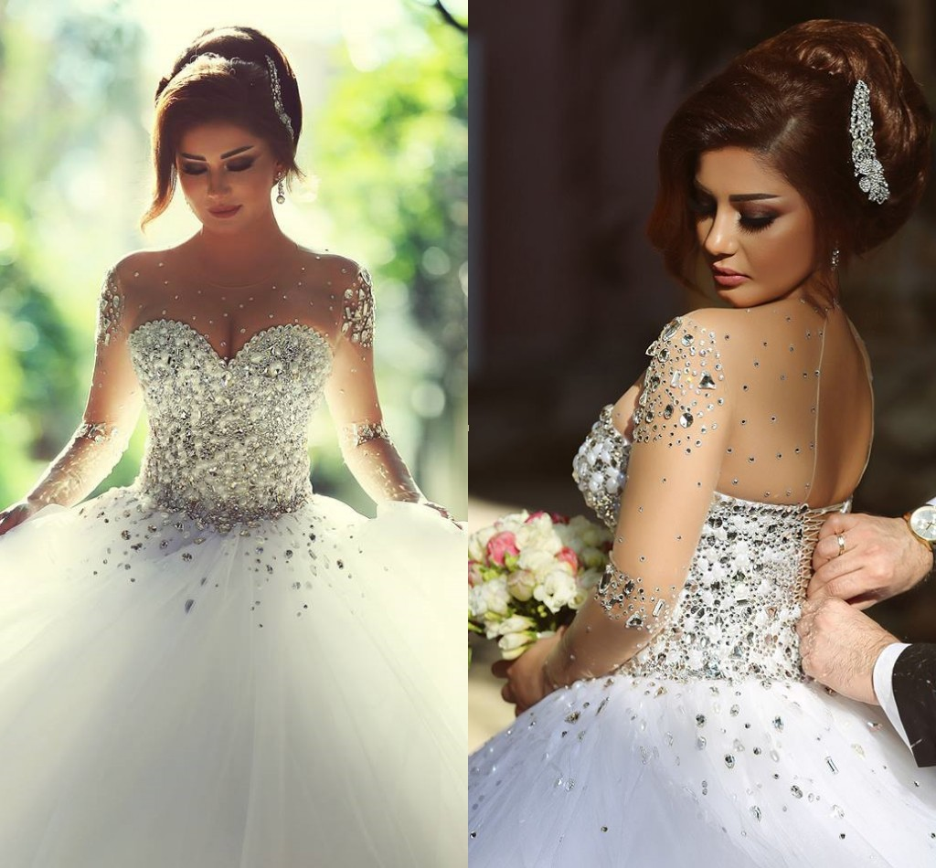 Luxury Ball Gown Wedding Dress Crystals Long Sleeves Lace-Up Back ...
