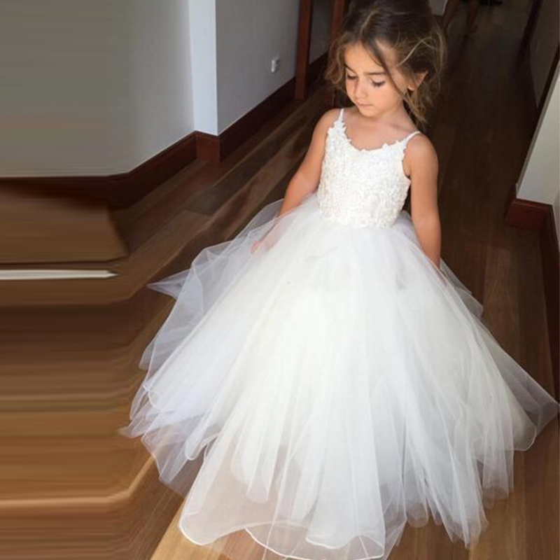 Princess A-line Straps Long White Tulle Flower Girl Dress ...