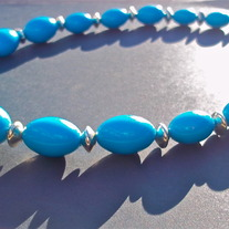 "14"" Teal chunky bead necklace"
