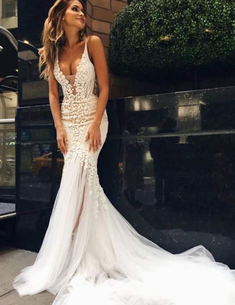 Luxurious Mermaid Long V-neck Wedding Dress with Open Back · modsele ...