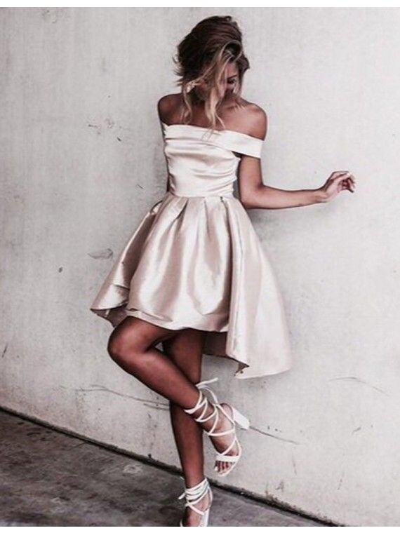 Sexy Off the shoulder Light Champagne Short Prom Dress ... - photo #27