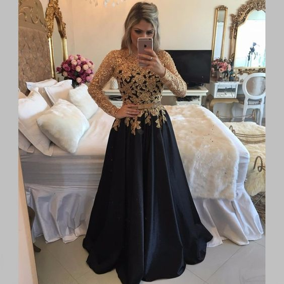 Long Sleeve Black Prom Dresses With Gold Sequins,A Line Black Satin ...