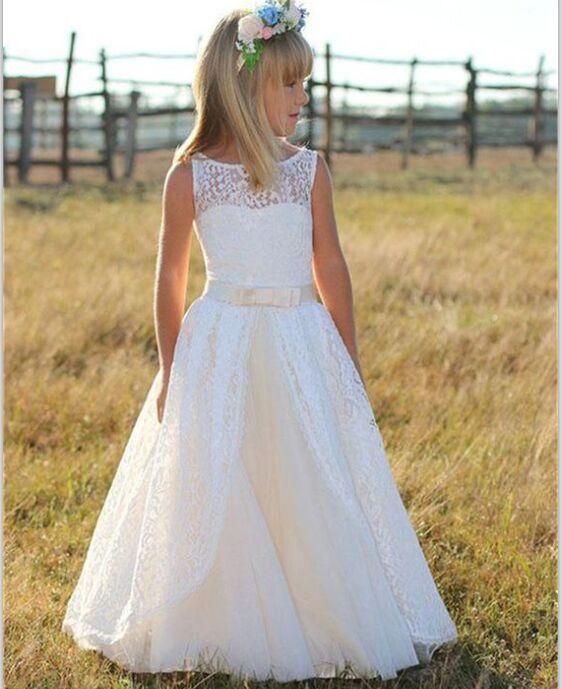 Cute Ivory Long Flower Girl Dressestulle Lace Flower Girl Dresses