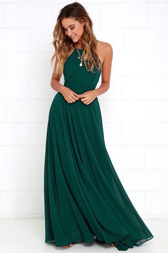 Hunt Green Prom Dress,Backless Chiffon Prom Dress,Custom Made ...