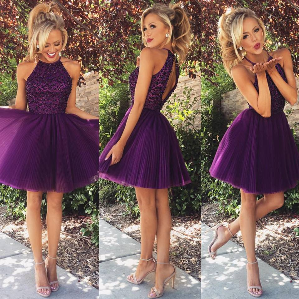 Short Prom Dress,Halter Tulle Homecoming Dress,Dark Purple ...