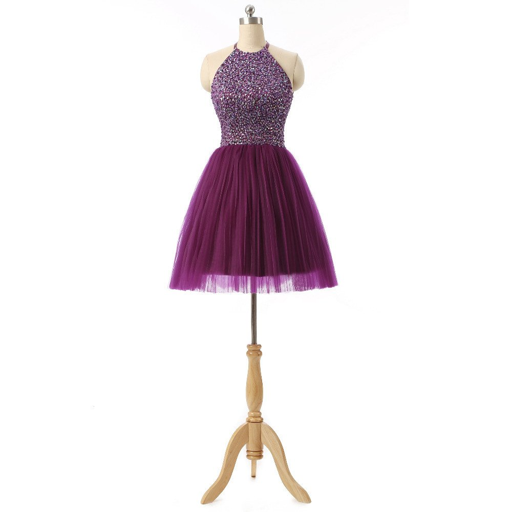 Halter 8th Grade Graduation Dresses, Beads Short Purple Prom Gown ...
