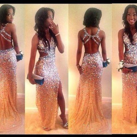 Sparkly Rhinestone Beaded Backless, Open Back Side Slit Long Prom ...