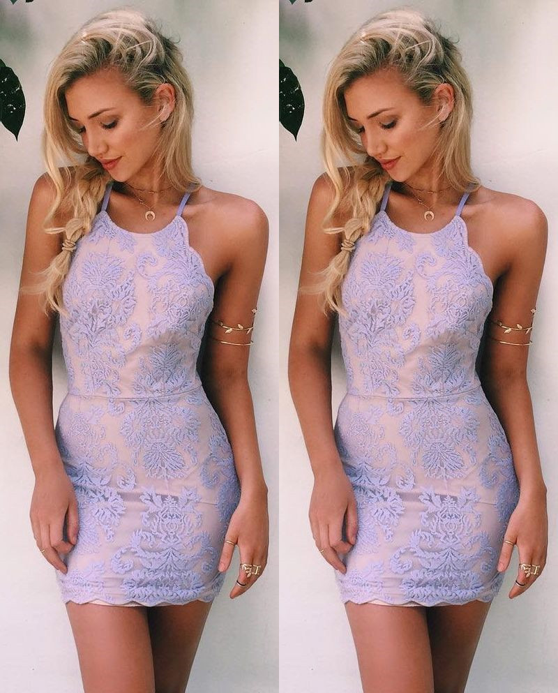 Lavender Homecoming Dress,Lace Homecoming Dresses,Short Prom Gown ...