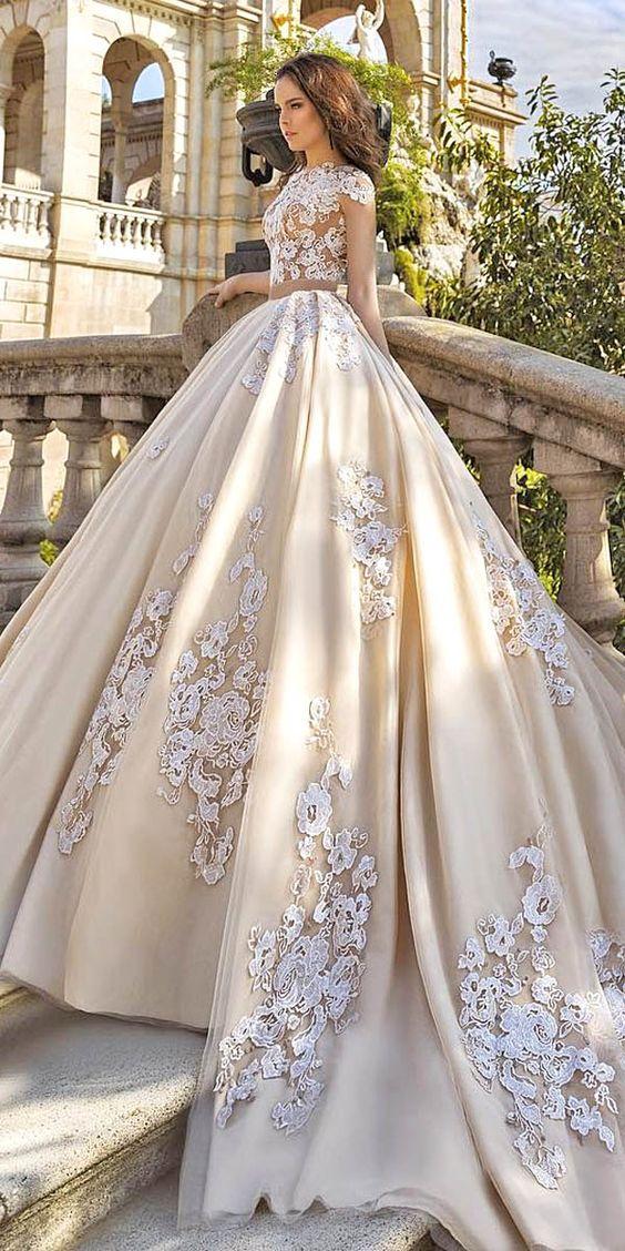 A421 Gorgeous Floral Applique Wedding Dresses Trend For 2017 ...