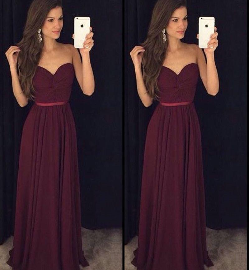 Vestido de Festa, Burgundy Prom Dresses, Simple Prom Dress, Chiffon ...