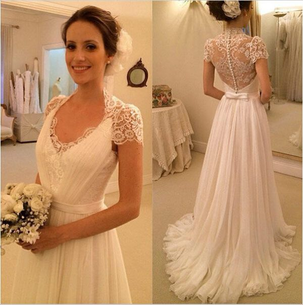 A445 High Neck Cap Sleeve Wedding Bridal Gowns, Chapel Train Long ...