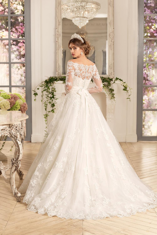 A443 Lace Long Sleve Bridal Lady Dresses, Princess One Boat Neck ...