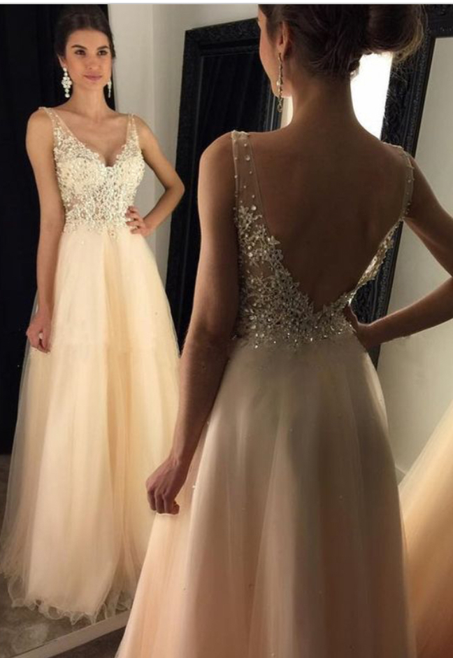 Tulle with Lace Appliqued Prom Dresses,Long Formal Dresses,2017 ...