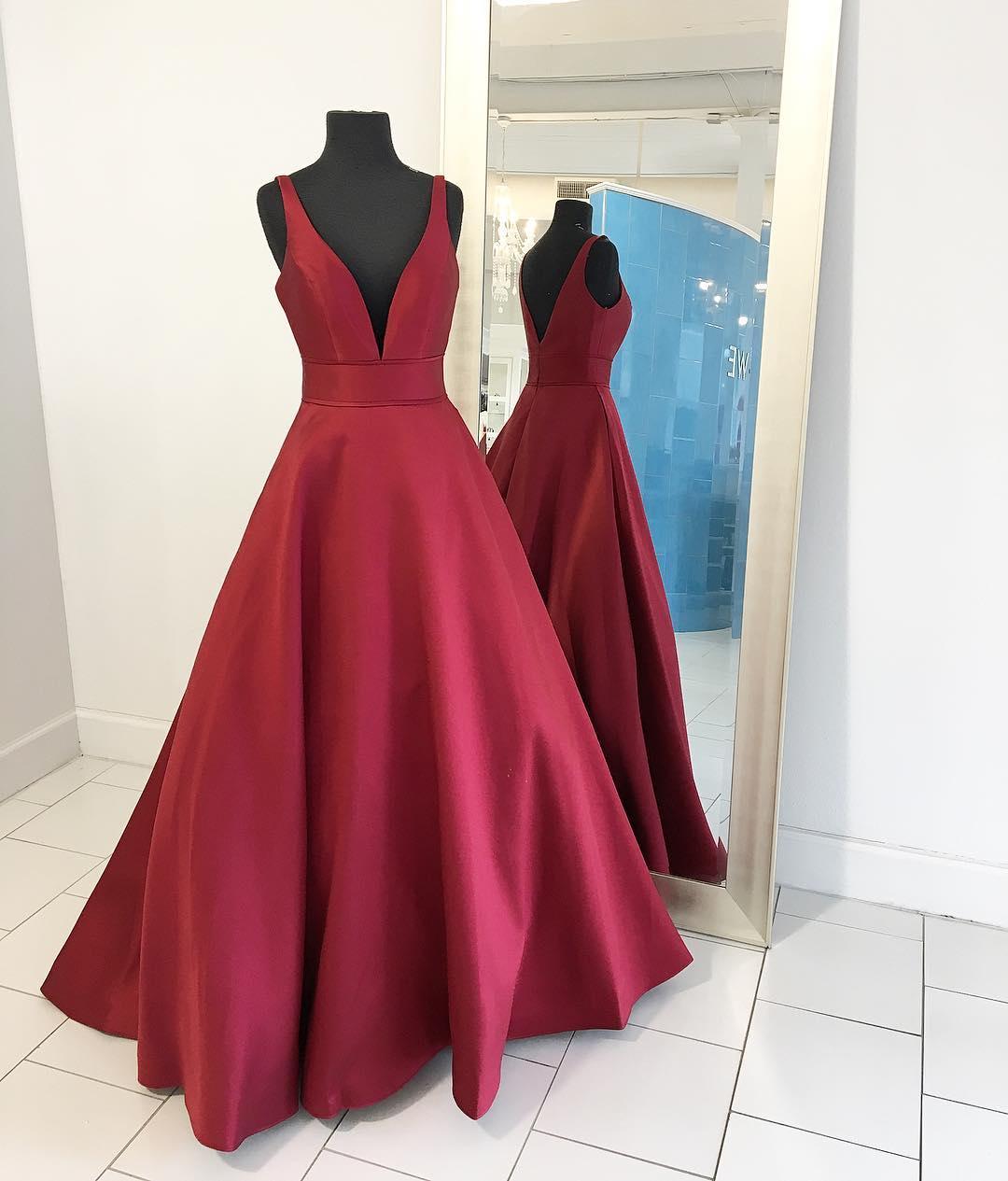 Elegant burgundy long prom dress,burgundy evening dresses ...