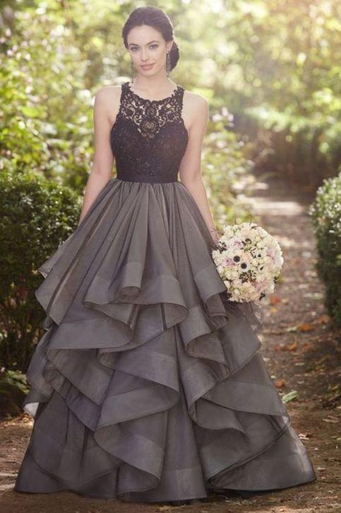 sexy long prom dresses,Beautiful grey lace organza prom ...