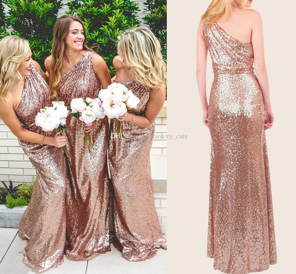 one shoulder Sequin bridesmaid dresses, Gold bridesmaid dresses ...