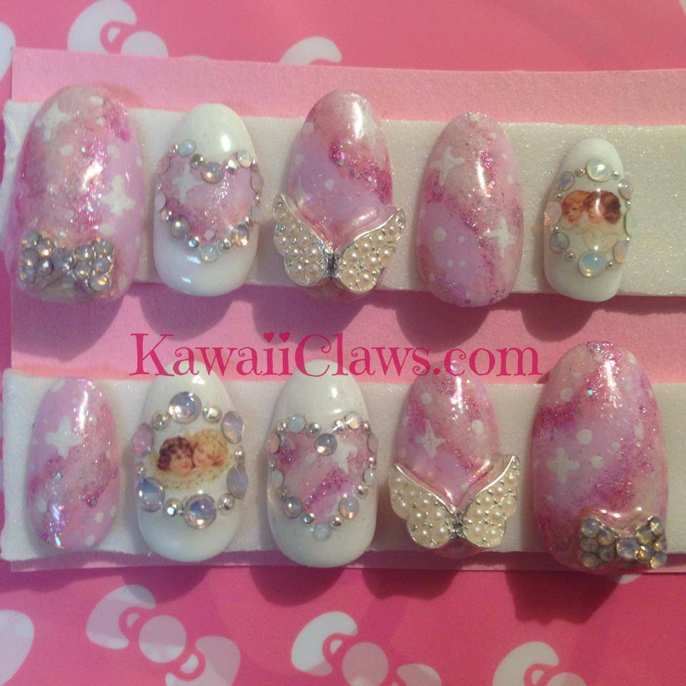 Kawaii Claws Sweet Pink Galaxy Nails With Cherubs Angel Wings