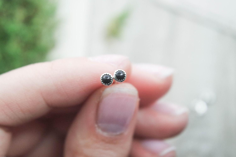 Dainty 3mm Onyx Stud Earring Onyx Studs 3mm Onyx Stud Second Piercing Studs Onyx Stone Earring Stone Studs 3mm Stone Studs From Indigo