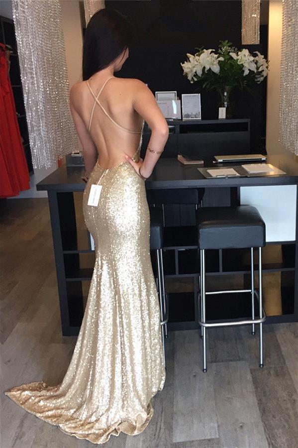 High Fashion Mermaid Sweetheart Backless Gold Long Prom Dress ...