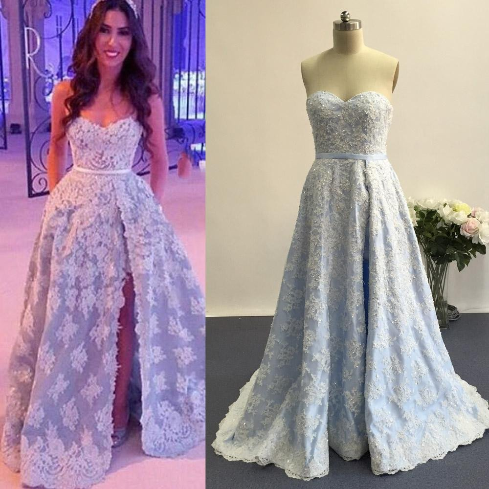 light blue Prom Dresses,lace applique prom dress,long prom Dress ...