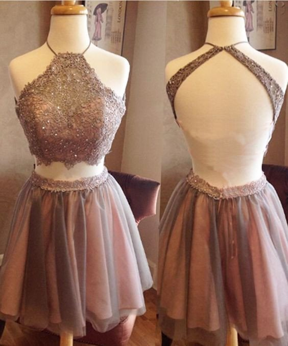 short prom Dress,two pieces Prom Dresses,backless prom Dress,halter ...