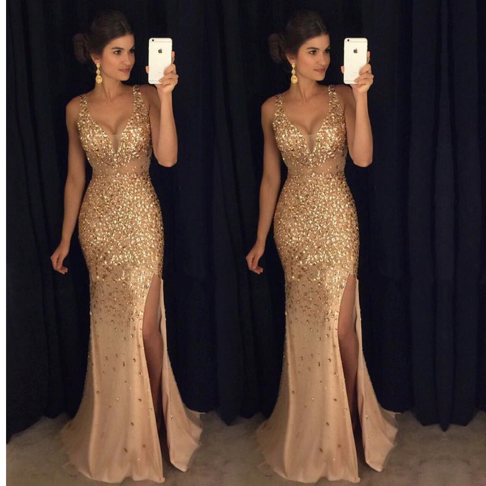 Prom Dress 2018,Beading Emerald Green Prom Dress, Backless Prom ...