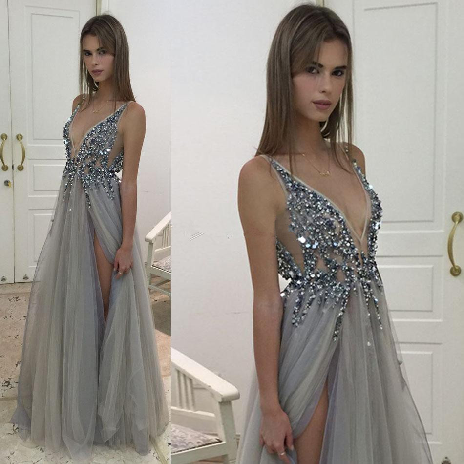 Beaded Silver Grey Deep V Neck Prom Dress,Backless Tulle Formal Gown ...