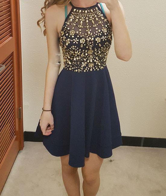 Unique round neck rhinestones short prom dresses 2017 new style ...
