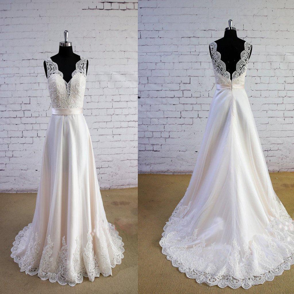H280 Special Wheat Color Wedding Dress V-Neck Wedding Dress V-Back ...