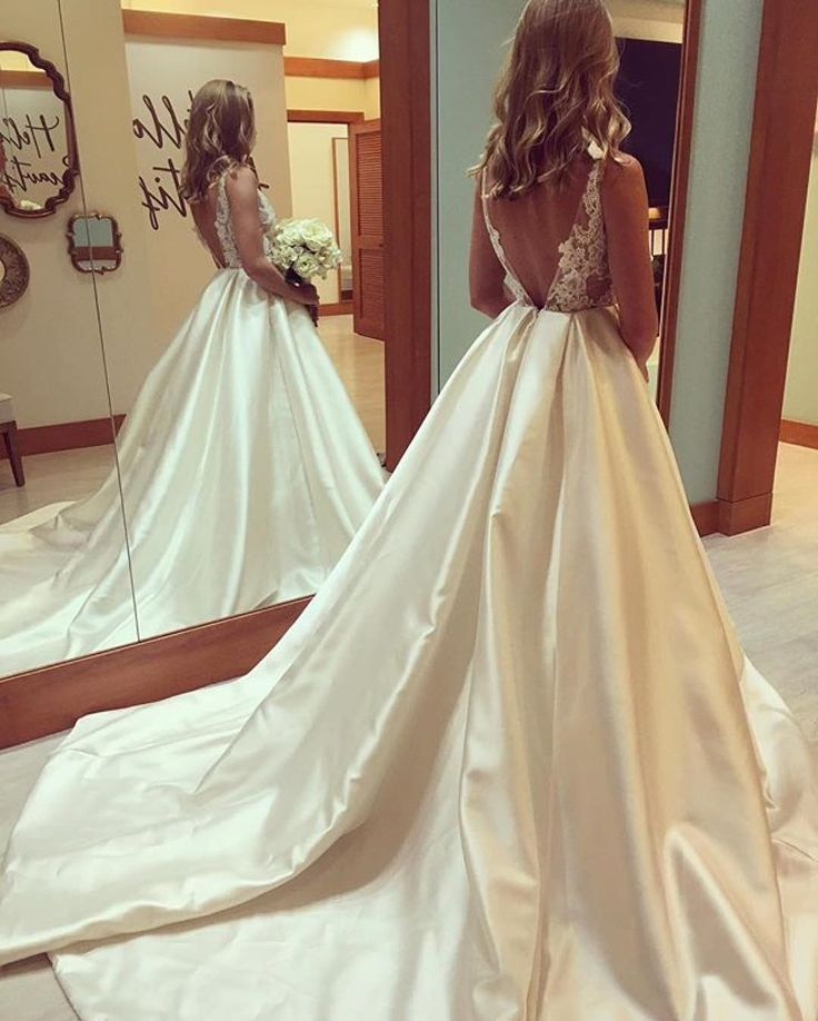 Gorgeous A Line Bateau Floor Length Wedding Dress With Open Back