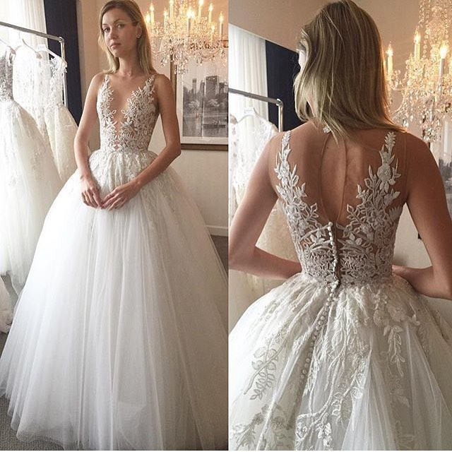 H393 Fabulous A-line White Long Tulle Bridal Gown with Lace ...