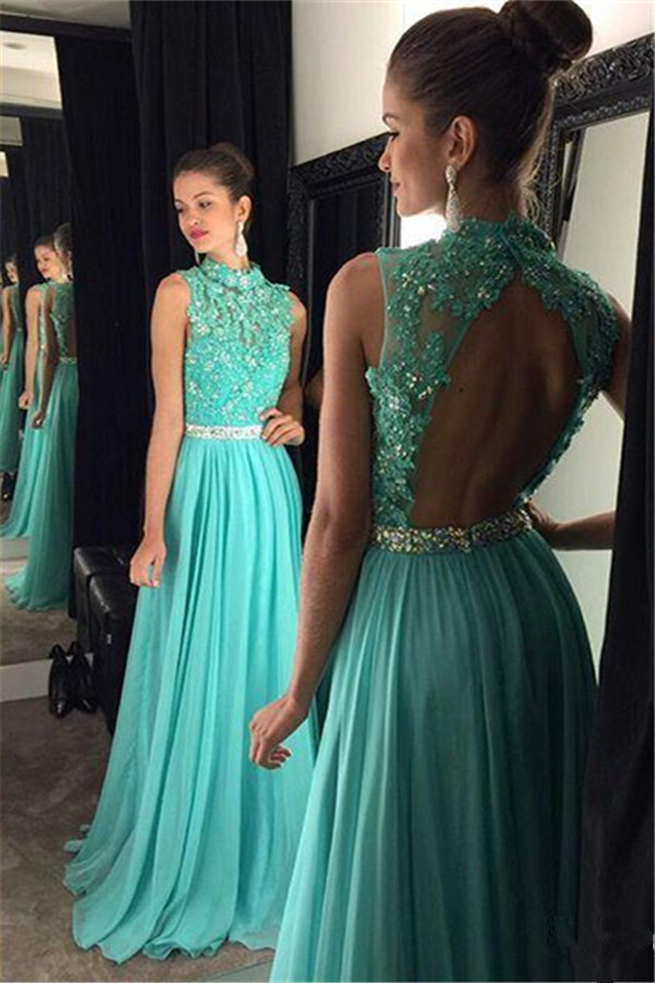 H407 Gorgeous A-line Jewel Long Green Chiffon Prom Dress with Open ...