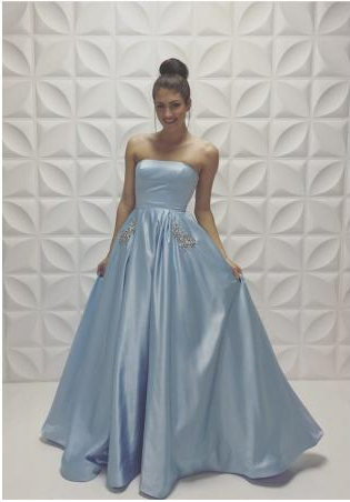 blue prom dress, simple prom dress, ball gown prom dress, sweetheart ...