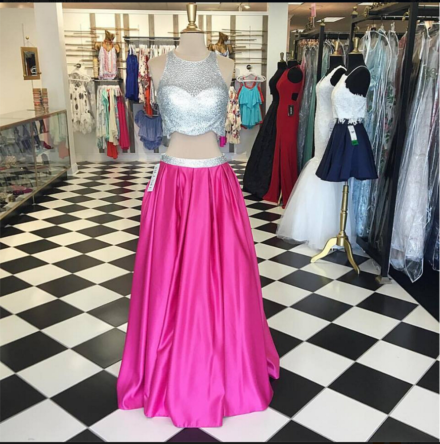 F218 New 2017 Two Piece Hot Pink Prom Dress with Silver Sparkly Top ...
