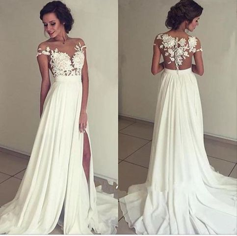 Pretty white A-lin chiffon lace long prom dress,evening gown,formal ...