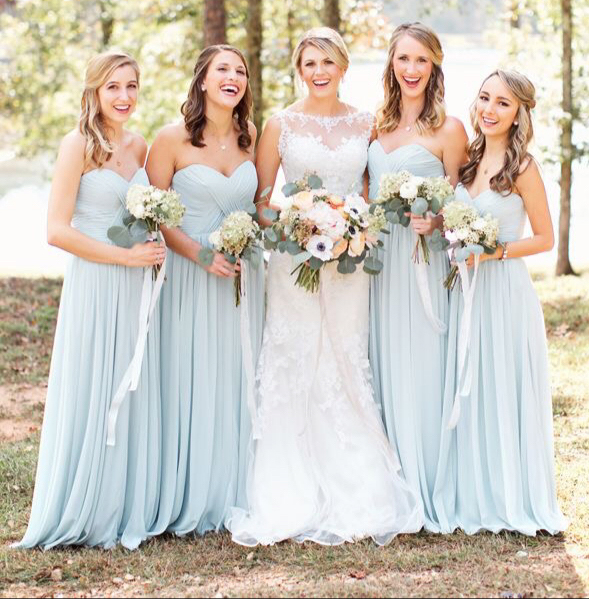 Strapless sweetheart neck chiffon bridesmaid dresses long for What to wear under strapless wedding dress