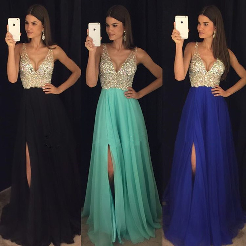 New Arrival Prom Dress,Ulass Prom Dress,sparkly crystal beaded v ...