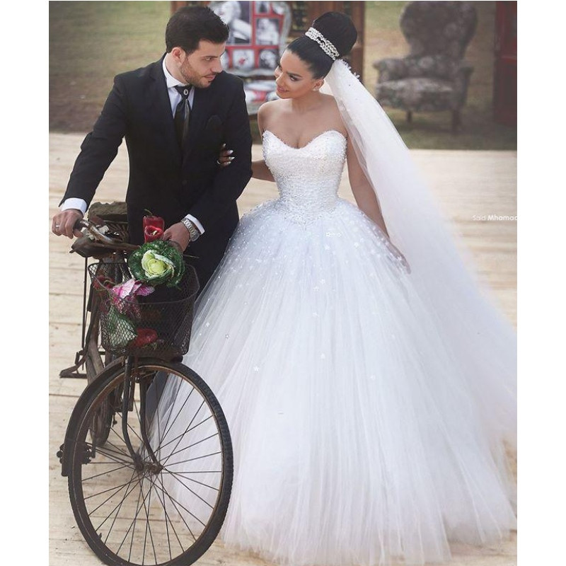 Romantic Ball Gown White Tulle with Pearls Wedding Dresses 2015 ...