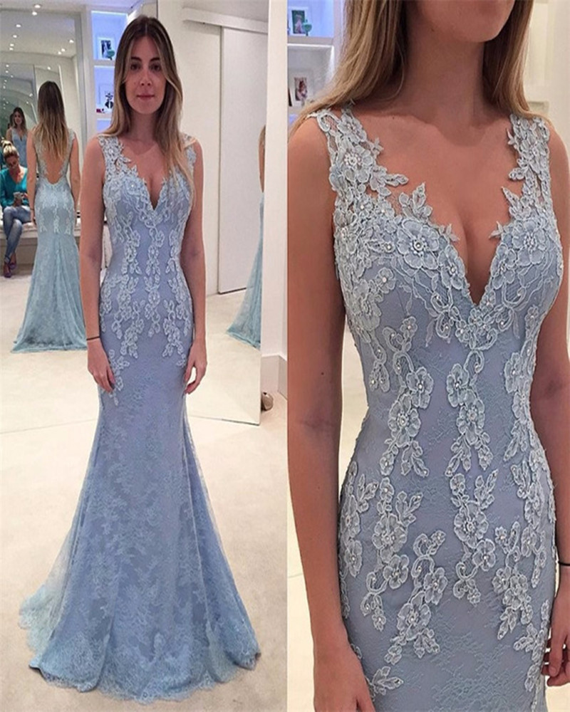 elegant lace evening dress blue prom dress long prom